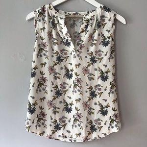 EUC Loft petites white floral notch neck blouse SP